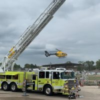 Another image of Theda Star landing at Plymouth's 2019 Touch a Truck event.