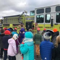 Engine 1 being shown off at Fire Safety Week at Sheboygan Falls Elementary School 2018